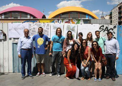 El equipo presentando el proyecto en la Plaza de la Cebada