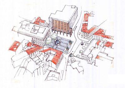 Plaza Jacinto Benavente_Axonometrica Propuesta