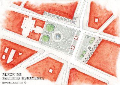 Plaza Jacinto Benavente_Planta propuesta