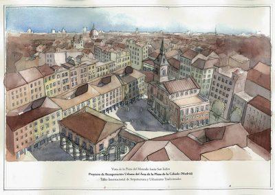 Vista de la segunda plaza propuesta, conectada con la anterior y bautizada como Plaza del Mercado