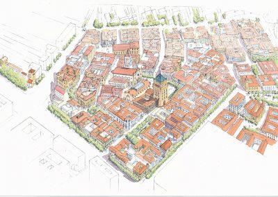 axonometría de la propuesta para el barrio de la cruz del campo