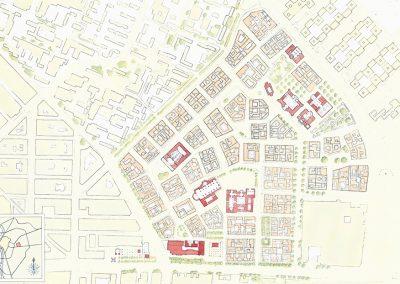 planta de la propuesta para el barrio de la cruz del campo
