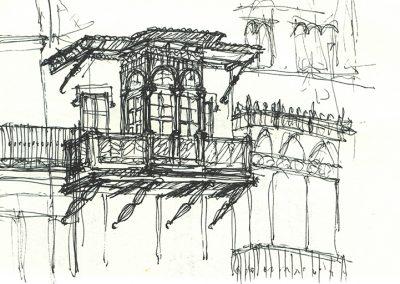 dibujo detalle de balcón
