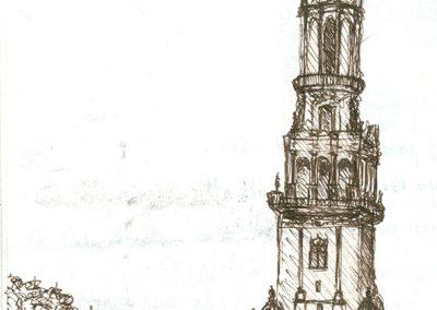dibujo torre plaza España, Sevilla