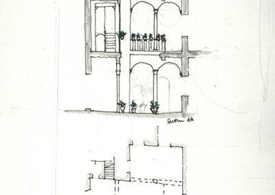 planta y sección de un patio (2)